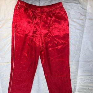 VS red mock silk pj pants